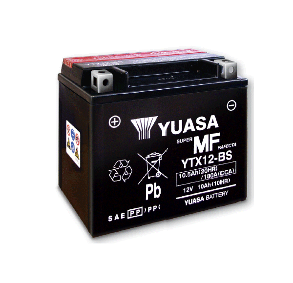 YUASA maintenance free motorcycle battery